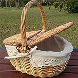 BINGFANG-W Mimbre Sauce Tejido de Picnic Cesta de Picnic como Bolsa de Compras con Tapa y Mango Camping Picnic Compras Comida Fruta Fruta Cesta de Picnic cámping