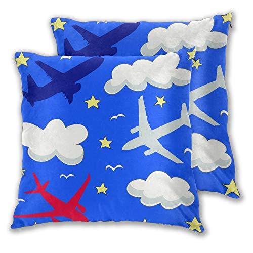 BROWCIN 2 Pack Funda de Almohada Patrón de bebé sin Fisuras con Nubes y Aviones voladores Lino Suave Cuadrado Sofá Cama Decoración Hogar para Cojín 45cm x 45cm