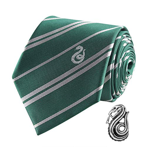 Cinereplicas - Harry Potter - Krawatte mit Anstecknadel - Deluxe Edition- Offiziel lizensiert - Slytherin - Einheitsgröße – 100 % Mikrofaser – Geliefert in Einer Geschenkbox - Grün und Grau