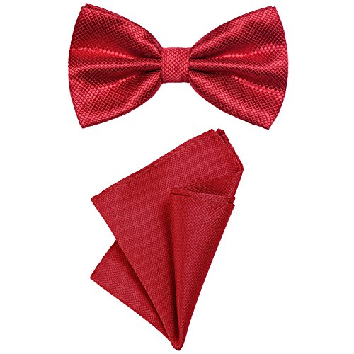 DonDon DonDon 2er Set Herren Fliege und Einstecktuch farblich passend gebunden und größenverstellbar rot