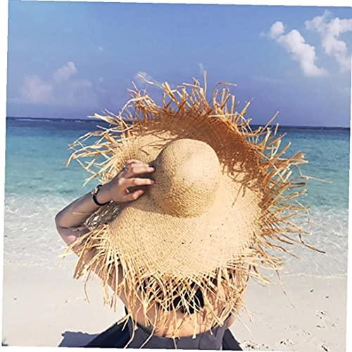 YepYes Frauen Big Strohhut Floppy Faltbare Weinlese Bast Strohhut Floppy breite großer Roll up Strand Cap