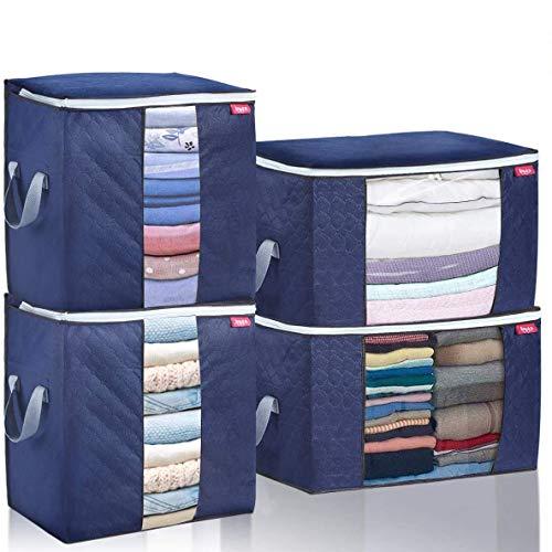 JOYXEON Groß Aufbewahrungstasche, 4 Stück Faltbar Kleideraufbewahrung mit Verstärktem Griff, Unterbettkommode für Bettdecken, Decken, Kleidung (Dunkelblau, 92.5L & 90L)