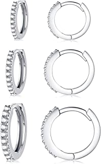 Silver Hoop Earrings for Women, 3 Pairs Small Sterling...
