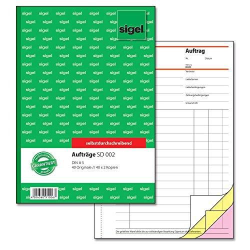 SIGEL SD002 Auftragsbuch A5, 3 x 40 Blatt, selbstdurchschreibend, 1 Stück