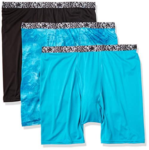 Hanes Herren Men's X-Temp Lightweight Long Leg Boxer Briefs, 3 Pack Slip, schwarz/blau Bedruckt/türkis, XXX-Large