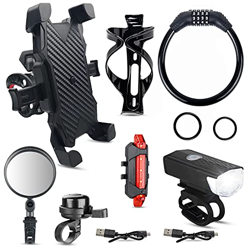 JYPS 7 Pack Bike Accessories Bike Phone Holder Bike Lock Water Bottle Holder Bike Bell Bicycle Mirror USB Rechargeable Bike Light Set for Adult and Kids Bikes with 2 USB Cables and Straps