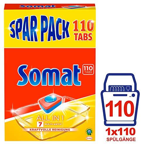 Somat Spülmaschinen-Tabs 7 All in 1, Multi-Aktiv, kraftvolle Reinigung (1 x 110 Tabs)