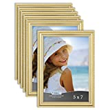 Icona Bay 5x7 Picture Frames (Gold, 6 Pack), Beautifully Detailed Molding, Contemporary Picture Frame Set, Wall Mount or Table Top, Inspirations Collection