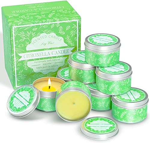 Citronella Candles Outdoor Decorative 8 Packs, LA BELLEFÉE Aromatherapy Jar Candles for Home Scented, Soy Candles Garden Gifts Set for Women, Mom Mothers Day Gifts Backyard Patio Use