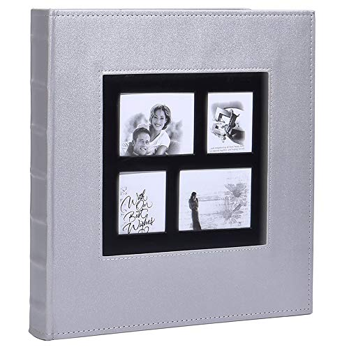 Lanpn Photo Album 4x6 500 Photos, Extra Large Capacity Leather Cover Picture Photo Albums Holds 500 Pockets Horizontal and Vertical 4x6 Pictures with Black Pages for Family Wedding Silver