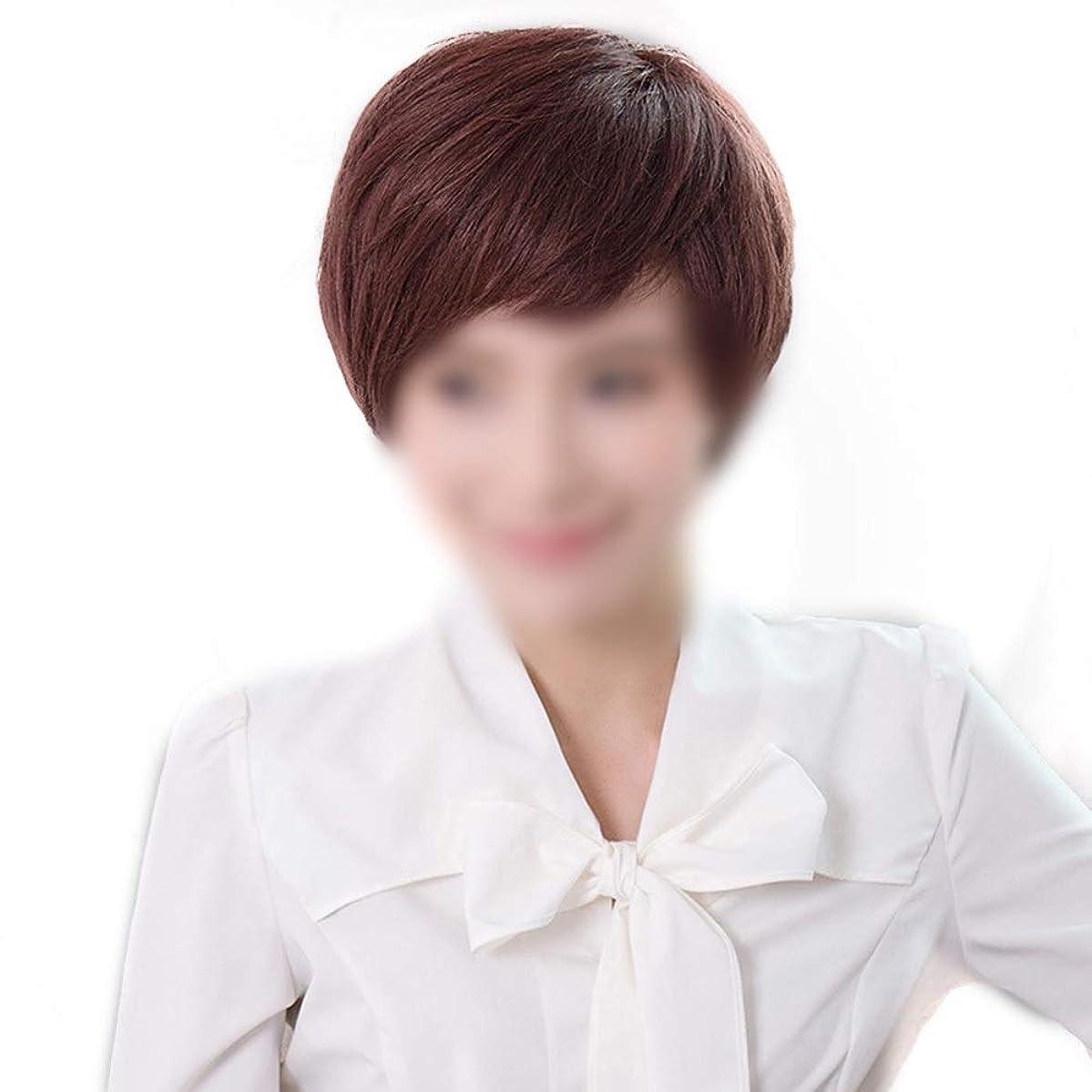 輸血局役職BOBIDYEE リアルヘア編み耳ショートカーリーヘアふわふわナチュラルファッションウィッグ女性用デイリードレスパーティーウィッグ (Color : Dark brown, サイズ : Hand-needle)
