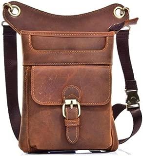 Leather Men's Bag Thigh Hem Leg Bag Casual Motorcycle Messenger Bag Messenger Bag Shoulder Bag Travel Wallet Purse (Color : Brown, Size : S)