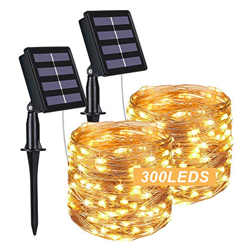 Flintronic Solar String Lights Outdoor, 2 Pack 300 LED Solar Fairy Lights 32M / 104ft Solar Garden Lights Waterproof 8 Modes Indoor/Outdoor Copper Wire Decorated Light for Christmas (Warm White)