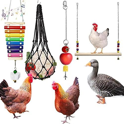 Tsin 4PCS Chicken Wooden Stand Chicken Xylophone Toy for Hens, Chicken Feeding Toy Chicken Veggies Skewer Fruit Holder, Chicken Hanging Feeder for Hens Duck Big Bird