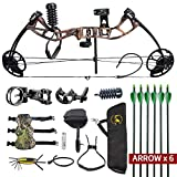 HYF Youth Compound Bow for Hunting and Beginner,Junior Compound Package/Set for Young Archers,290fps IBO Rate,Right Hand,Lightweight Design (camo) (Forest camo)