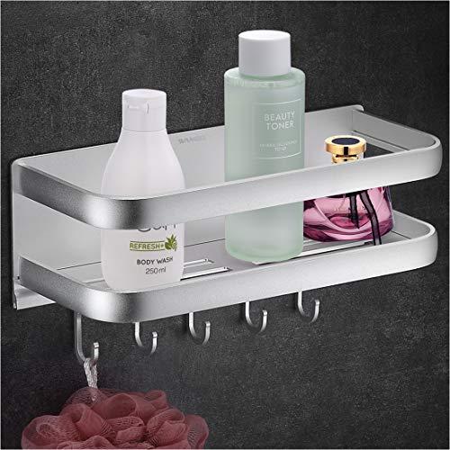 Wangel Duschkorb Duschablage ohne Bohren, mit 5 Haken, Patentierter Kleber + Selbstklebender Kleber, Aluminium, Matte Finish