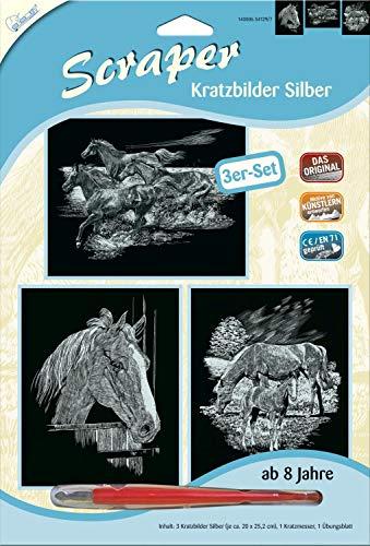 MAMMUT 140006 - Kratzbilder, Motive Pferde, silber, glänzend, Komplettset mit 3 Kratzbildern&Kratzmesser&Übungsblatt, Scraper, Scratch, Kritzel, Kratzset für Kinder ab 8 Jahre