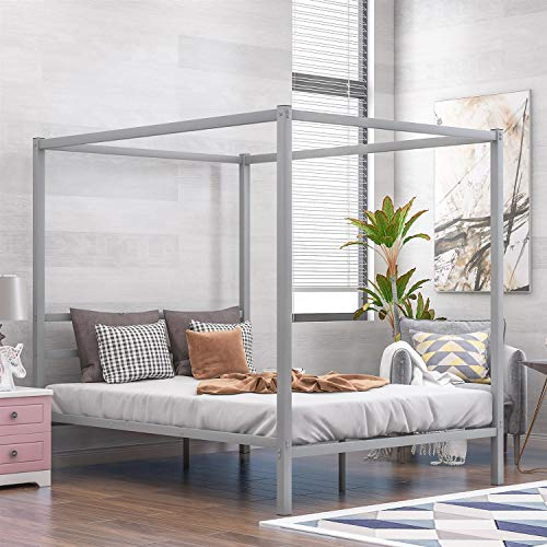 TriverNtrustD Modern 4 Post Metal Canopy Bed Frame Platform W/Headboard Queen Size, No Box Spring Needed, Classic Design, Ship from America Local Warehouse (Color : Silver)