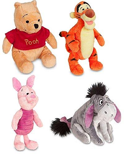 Disney Store Original Winnie the Pooh Plush Set of 4 with Piglet, Tigger, Winnie and Eeyore