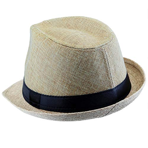 KYEYGWO Sombrero Fedora de fieltro, sombrero de gánster para hombre y mujer, de ala ancha, estilo vintage beige Talla única