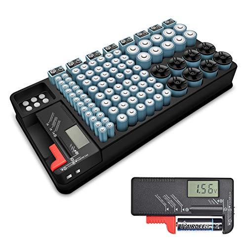 Kwasyo 2in1-Batterie-Organizer Batterie Aufbewahrung hält 110 Batterien, für AAA, AA, 9V, C, D Größe und Knopfzellen mit Abnehmbaren Batterietester