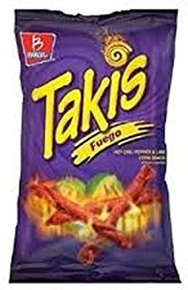 Barcel Takis Fuego Hot Chili Pepper & Lime Flavored Corn Tortilla Chips Snacks One 9.9 oz