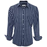 SUVARI Camisa de Vestir para Hombre, Manga Larga, Corte Regular, Casual, con Botones, para Hombre - Azul - Medium