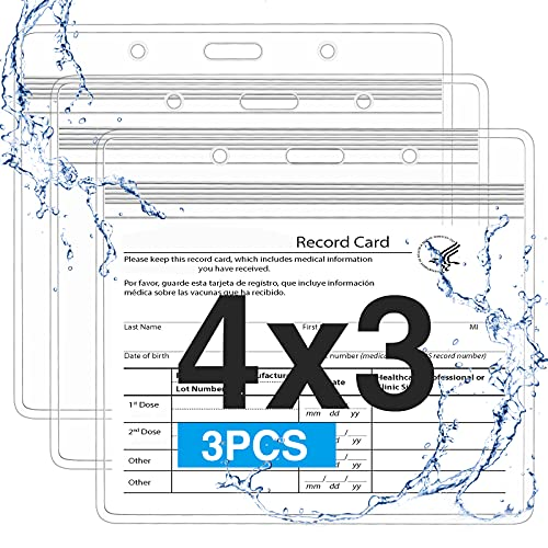 3 Pack Clear Vaccination Card Protector 4×3 Immunization Record Vaccine Card Holder, Sooez Plastic Card Sleeve w 3 Lanyard Slots 1 Resealable Zip, Durable Waterproof Vaccine Badge Holder ID Card Pouch