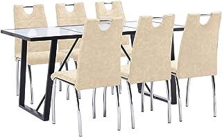 UnfadeMemory Muebles de Comedor Cocina,Conjunto de Mesa y Sillas de Comedor,Sillas de Cuero Sintético 45x60x94cm (Sillas Crema y Mesa Blanco, 7 Pzas,Mesa 180x90x75cm)