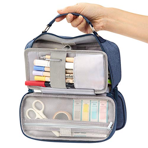 EASTHILL Big Capacity Pencil Case Stationery Storage Large Handheld Pen Pouch Bag Multiple Compartments Double Zipper Unisex Adult Portable High School Organizer College Student Boy Teen-Dark Blue