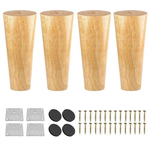 30cm Holz Möbelfüße, Btowin 4 Stück Massivholz Tischbeine Möbelbeine DIY Ersatz mit Montageplatten & Schrauben & für Schrank Sofa Bett Ottomane Couch