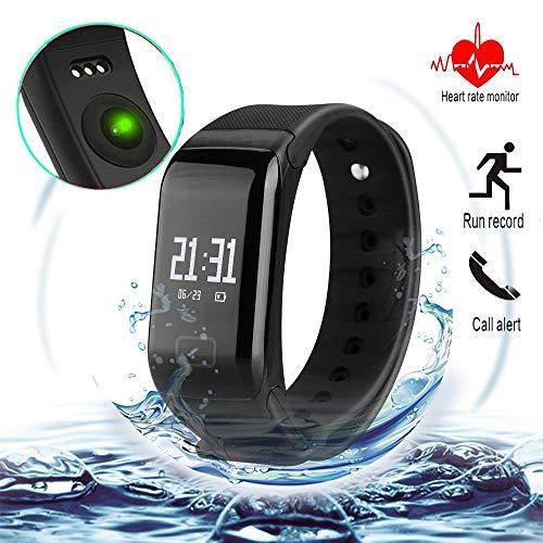 L8star - Monitor de condición física con brazalete de repuesto, Bluetooth, monitor de frecuencia cardíaca, recordatorio de llamadas, podómetro, rastreador de actividad inalámbrico para teléfonos Android y iOS, Negro