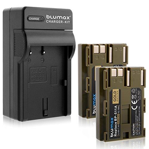 Blumax 2X Gold Edition BP-511 / BP-511A 2040mAh + Ladegerät BP-511 / BP-511A | passend zu Canon EOS 5D/ 10D/ 20D/ 300D/ 30D/ 40D/ 50D UVM