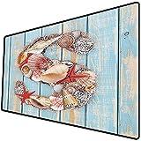 Tappetino per mouse da gioco [600x300 x 3 mm],Lettera S, varie conchiglie di conchiglie stelle marine capesante su assi di legno decorativo nautic Base antiscivolo 45x45cm