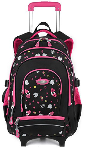 Rolling Backpack for Girls, COOFIT Backpack with Wheeled for Girls Laptop Backpack with Wheeled Roller Backpack