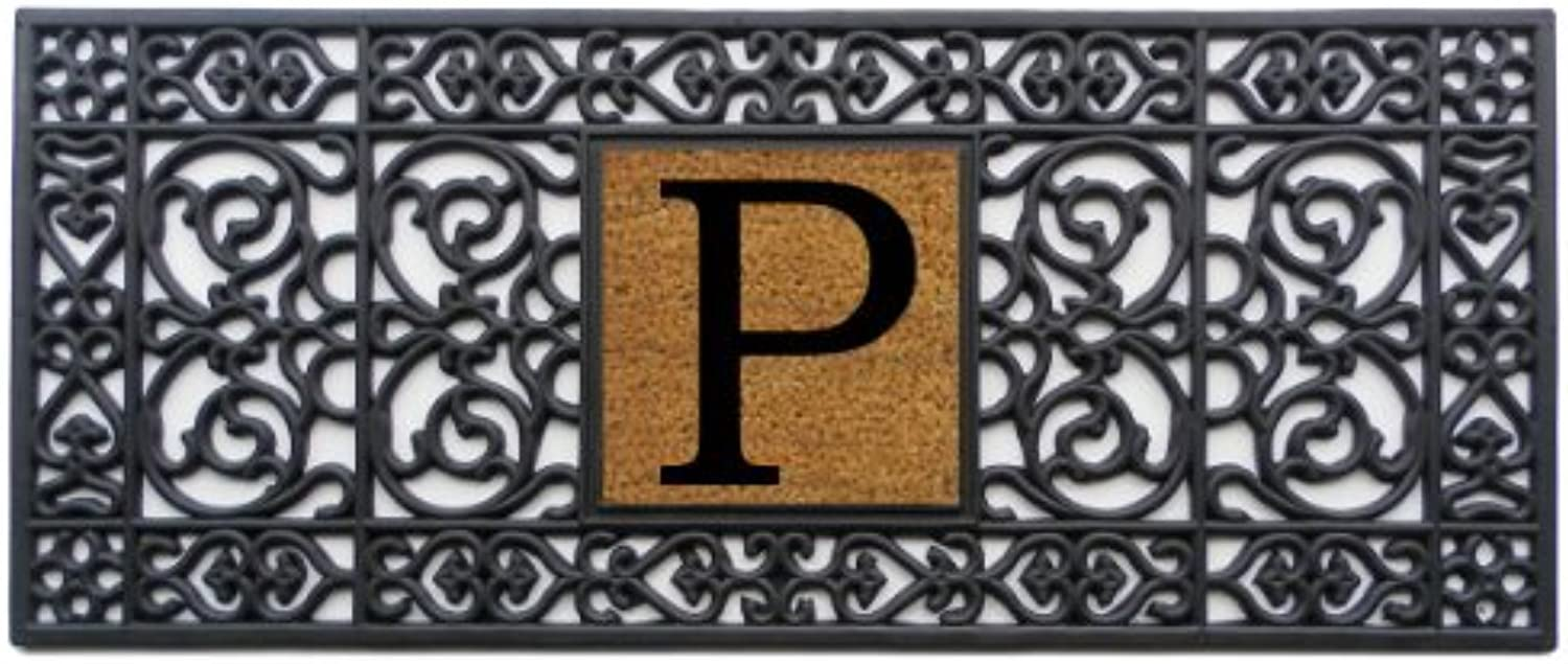 Home & More 170011741P Rubber Monogram Doormat 17-Inch X 41-Inch (Letter P)