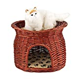 Cat Bed Wicker Basket, 2 Layers Pet Cave Handmade Rattan Wicker Cat Bed Basket Dog Sleeping House Condo Cat Nap Bed with Soft Cushion