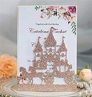 キラキラの城レーザーカット結婚式の洗礼のための招待状カードポケット誕生日卒業パーソナライズされた印刷マルチカラー-rose_gold_just_pocket