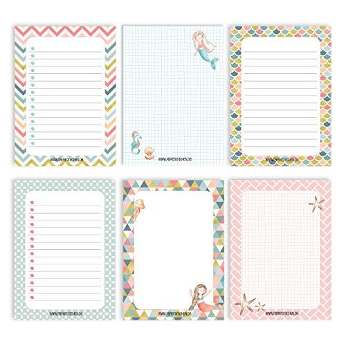 6 Notizblöcke Blanko zur freien Gestaltung | für Termine, Projekte, to do Liste, Meetings, Einkaufslisten, Notizen und vieles mehr - Gold Pastell - Notizblock Set 14 - DIN A6