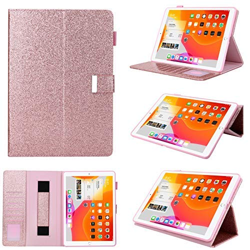 iPad Mini 4 Smart Cover for Kid,Jennyfly PU Leather Multi-Viewing Smart Auto Wake/Sleep with Pencil Strap/Card Slot Hand Free Stand Soft Back Protective Cover for 7.9 inch iPad Mini 4/5 - Rose Gold
