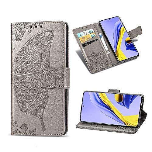KISME für Xiaomi Poco F2 Pro Lederhülle,Magnetische PU Leder Flip Wallet Tasche mit Ständer Kartensteckplätze Protective Hülle Handyhülle für Xiaomi Poco F2 Pro-Grau