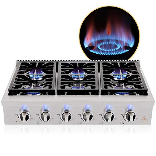 Kitchen Academy 36'' Gas Cooktop, Professional Burners Gas...