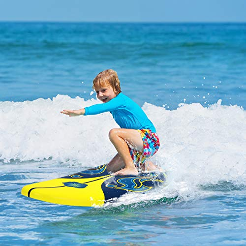 Giantex 6' Surfboard Surfing Surf Beach Ocean Body Foamie Board with Removable Fins, Great Beginner Board for Kids, Adults and Children