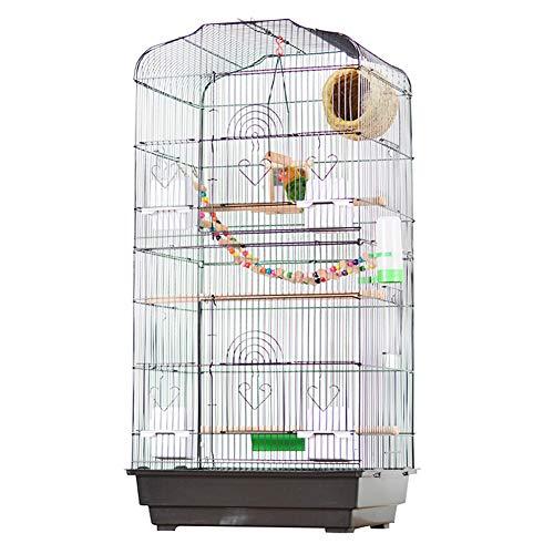 Grote vogelkooi, metalen ijzeren papegaai vogelhuisje villa met schommel & klimladder & grasnest & zitstokstandaard & spiegel speelgoed & voerbak