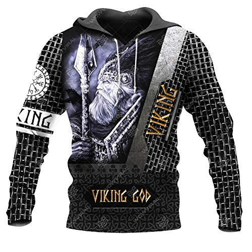 Mens Norse Mythology Hoodies T-Shirt, Viking 3D Über Bedruckten Vegvisir Odin Crow Kordelzug Kapuze Big Pocket Sweater Hoodie Pullover Sweatshirt XS-5XL,Odin,4XL