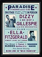 ポスター デニース ローレン Dizzy Gillespie and Ella Fitzgerald at Paradise 1947 額装品 ウッドハイグレードフレーム(ブラック)