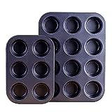 shisipq 13,8/10,4 Zoll Antihaft-Muffinform, Mini-Cupcake-Pfannen-Set, Muffinform Zum Backen, 6 Tassen Und 12 Tassen, Schwarz, Backform, Keksblech-Backwerkzeug-Set, Runde Muffin-Kuchenform, Muffinforme