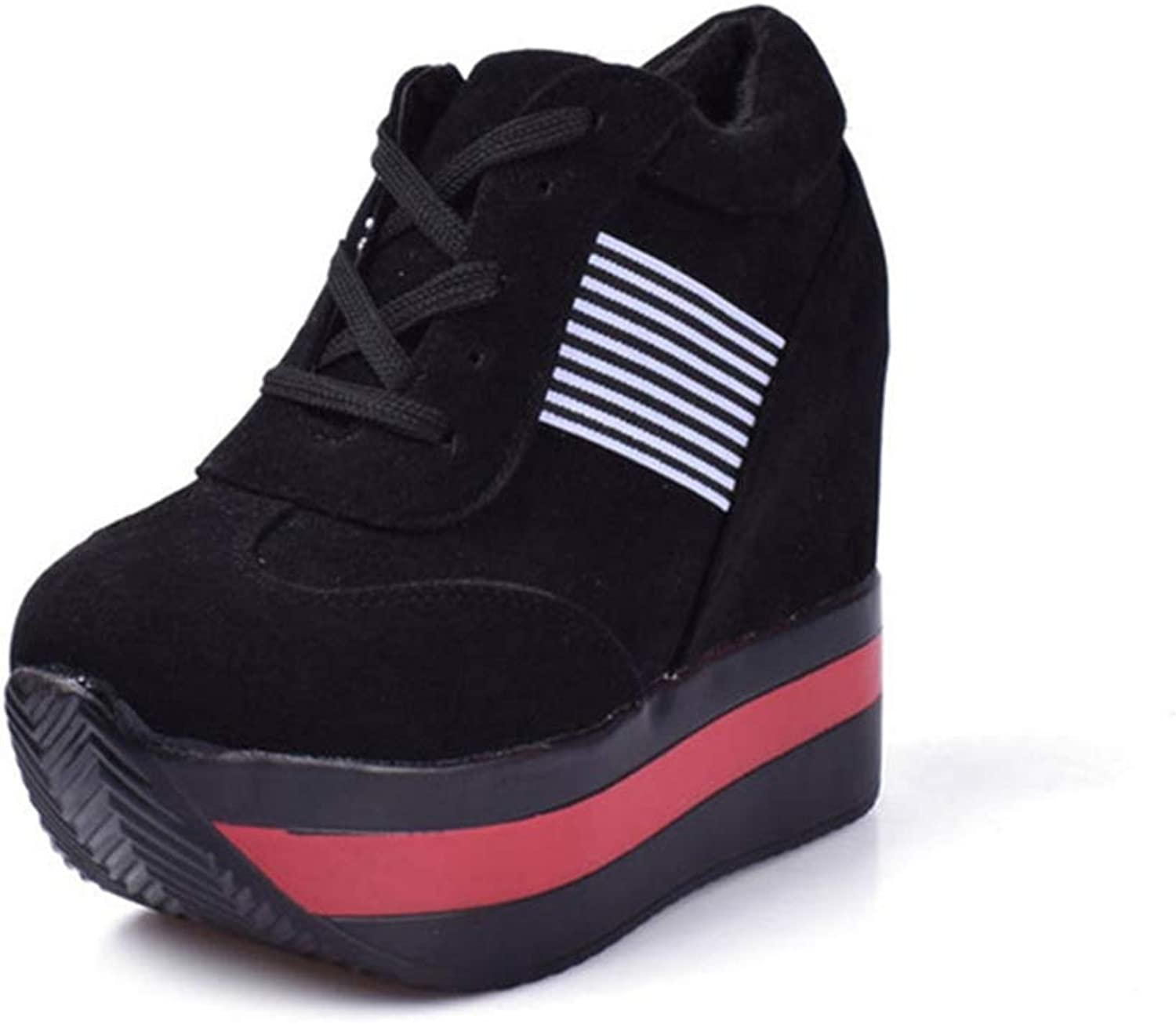 Ghssheh Women High Heels Platform Casual Wedge Sneaker Female Fashion Casual shoes Black 5 M US