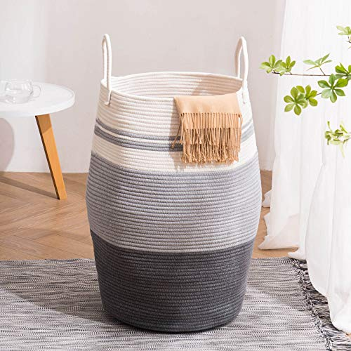 YOUDENOVA 105L Extra Large Woven Laundry Hamper Basket with Heavy Duty Cotton Rope Handles for Clothes and Toys in Bedroom Nursery Room Bathroom Collapsible Grey