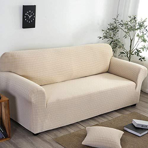 Funda Elástica de Sofá,Funda de sofá elástica, funda de sofá antideslizante de jacquard de punto con todo incluido, funda a prueba de polvo para muebles de sofá para todas las estaciones-Beige_190-23